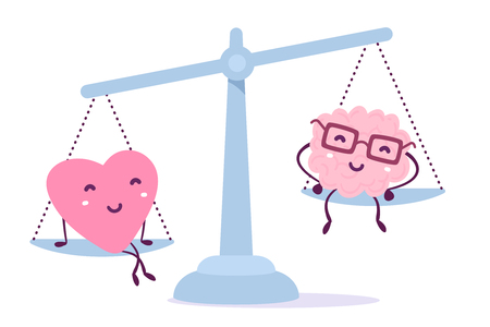 Vector illustration of pink color heart and human brain with glasses sit on the scales on white background. The heart outweighs the brain concept. Doodle style. Flat style design of character brain for training, education theme