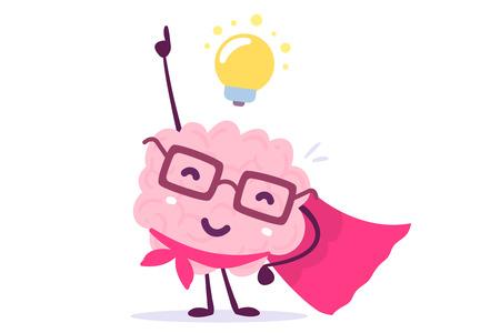 Vector Illustration des menschlichen Gehirns der rosa Farbe mit Gläsern als Superheld und Glühlampe auf weißem Hintergrund. Inspiration-Cartoon-Gehirn-Konzept. Gekritzelart. Flaches Design des Charaktergehirns für die Ausbildung, Bildungsthema