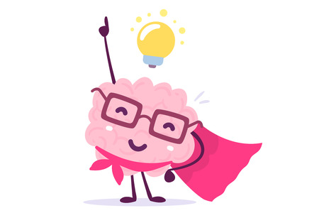 Vector illustration of pink color human brain with glasses as a super hero and light bulb on white background. Inspiration cartoon brain concept. Doodle style. Flat style design of character brain for training, education theme