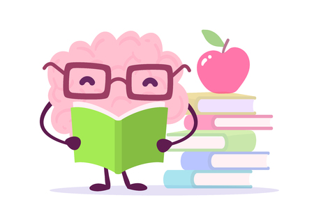 A Vector illustration of pink color brain character with glasses reading a book on white background with pile of books and a red apple. Flat style design