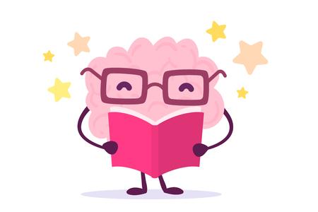 Eine Vektorillustration des rosa Farbgehirncharakters mit Gläsern ein Buch auf weißem Hintergrund mit Sternen lesend. Angenehmes Bildungsgehirn-Karikaturkonzept. Flache Design Vektorgrafik