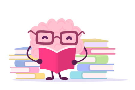 Flat style design of character brain for knowledge, education theme. Vector illustration of pink color happy brain with glasses reading a book on white background with pile of books. Enjoyable education brain cartoon concept Illustration