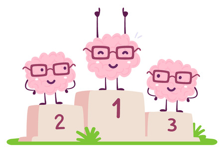 Vector illustration of pink color human brain with glasses stands on the winner pedestal on white background. The best cartoon brain concept. Doodle style. Flat style design of character brain for training, education theme