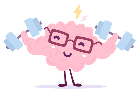 Vector illustration of pink color smile brain with glasses easy lifts dumbbells on white background with lightning. Very strong cartoon brain concept. Doodle style. Flat style design of character brain for sport, training, education theme