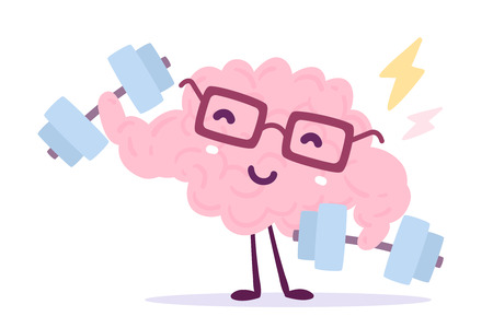 A Vector illustration of pink color brain character with glasses carrying dumb bells on white background. Very strong cartoon brain concept. Doodle style. Flat style design of character brain for sport, training, education theme Illustration