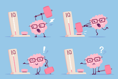 Different degree of impact with a hammer. Vector set of illustration of pink color human brain with glasses and measure level iq on blue background. Flat style design of character brain for training, education theme