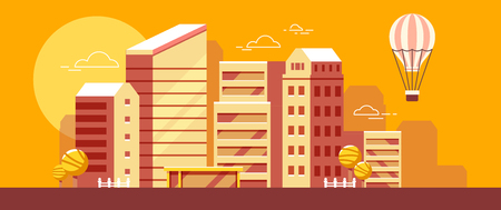 Urban european city panorama with tree, cloud, air balloon. Vector colorful illustration of city evening landscape on yellow background. Flat style design for web, site, advertising, horizontal banner Illustration