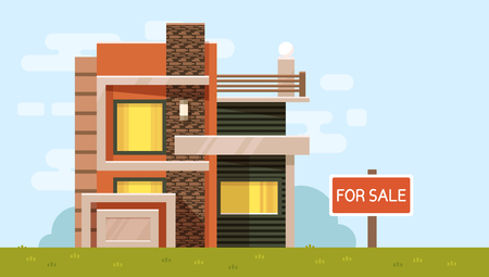 Vector color illustration of house with board for sale on blue sky background with green grass. Urban european modern family cottage. Flat style design for web, site, advertising, horizontal banner