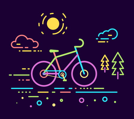 Vector neon color illustration of bicycle on dark outdoor background with road, fir trees and sun. Bike journey concept. Thin line art flat design of bicycle, riding on the bicycle and cycling theme Standard-Bild - 90190811