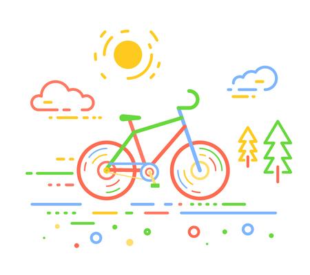 흰색 야외 배경에 자전거의 벡터 색 그림. 도 및 전나무와 자전거 모험 개념입니다. 자전거의 얇은 라인 아트 플랫 디자인, 자전거 타기 및 자전거 타기