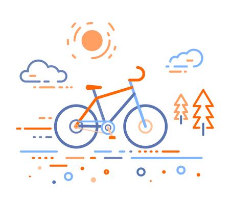 Ilustración de vector de bicicleta en el bosque. Concepto de entrenamiento de bicicleta en el fondo blanco al aire libre. Diseño plano de línea delgada de bicicleta, montar en bicicleta y tema de ciclismo Vectores