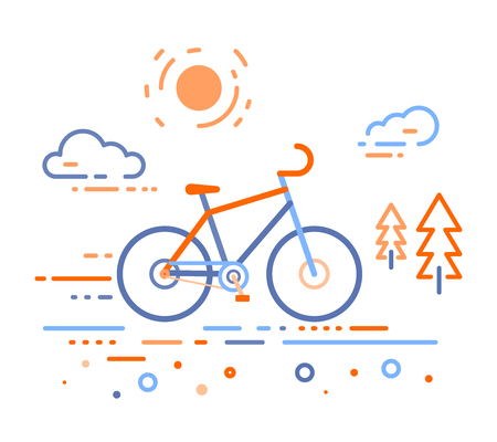 Vector illustration of bicycle in the forest. Bike training concept on white outdoor background. Thin line art flat design of bicycle, riding on the bicycle and cycling theme Illustration