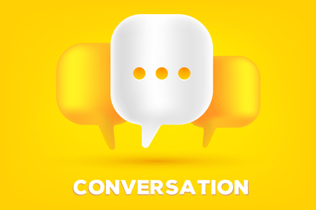Mobile communication technology concept. Vector illustration of 3d dialog speech bubbles with three dots and text conversation on a yellow background.