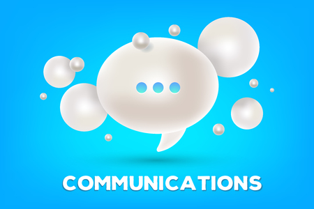 Realistic design of online chatting technology. Vector illustration of 3d white dialog speech bubble with three dots and text communications on a blue background. Illusztráció
