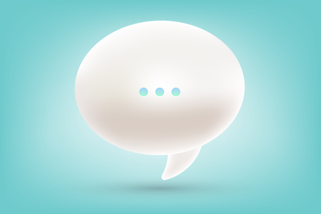 Vector realistic illustration of 3d one white dialog speech bubble with three dots and shadow on blue background. Illustration