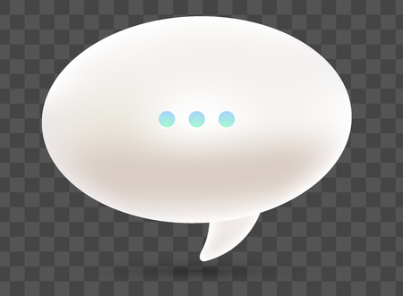 Vector realistic illustration of 3d one white dialog speech bubble with three dots and shadow isolated on transparent background. Illustration