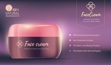 Realistic vector illustration of beautiful glowing face cream jar with pink lid and text. 3d design of moisturizing anti-aging cosmetic product ad with cream advantages.