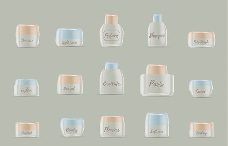 Realistic vector illustration of collection of beautiful cosmetic transparent empty cream container, jar and bottle for lotion, shampoo, cream, mouthwash, mask, balsam with pastel color lid. Mockup of luxury container with label. 3d design of cosmetic plastic product packaging