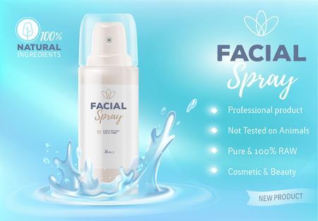 Realistic vector illustration of beautiful white facial spray bottle with water splash. Mockup of luxury spray container. 3d design of moisturizing cosmetic product ad. Premium beauty care advertising template Illustration