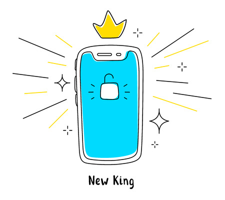 Vector illustration of new mobile phone front side. Smartphone with lock blue screen and crown on white background. Line art doodle style design of phone for web, site, banner, advertising Illustration