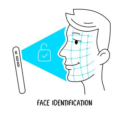 Vector illustratie van menselijk hoofd en nieuwe mobiele telefoon met gezicht id. Smartphone scant gezicht om het scherm op een witte achtergrond te ontgrendelen. Lijn kunst doodle stijl ontwerp van nieuwe technologie voor web, site, banner, reclame Stock Illustratie