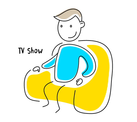 Vector color illustration of sitting man in a very comfortable armchair on white background. View the favorite movie or TV series. Line art doodle style design for web, site, banner, advertising