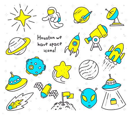 Illustrazione con oggetto spaziale. Vettoriali