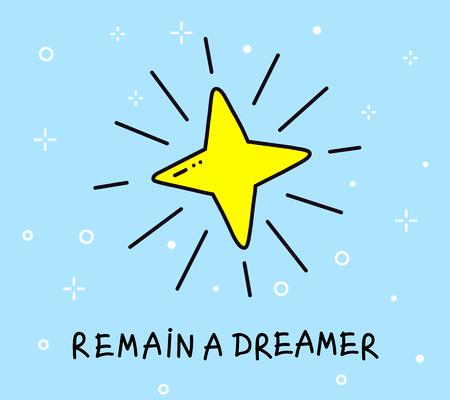 Illustratie van grote gele ster. Stock Illustratie