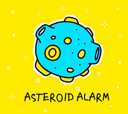 Illustration of big blue asteroid.