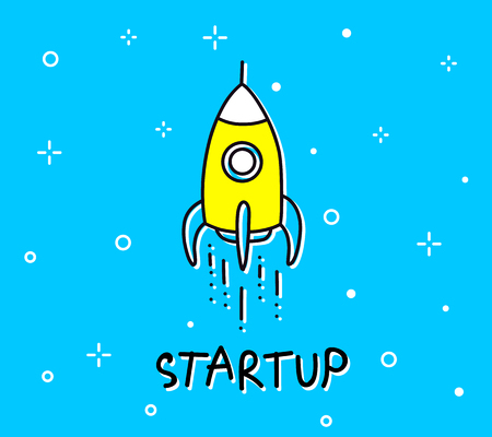 Illustration of space rocket startup.