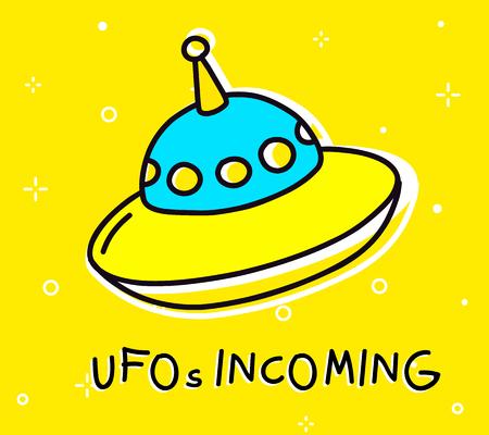 Illustration of big flying saucer. Illustration