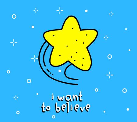 Illustration of big yellow star. Çizim