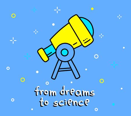 Illustratie van grote telescoop. Stock Illustratie