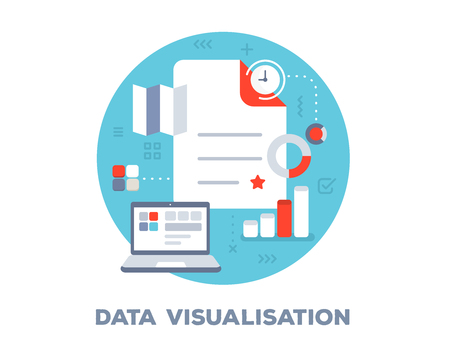 Vector bright illustration of big document, clock, laptop and icons. Data visualization concept on blue background with title. Flat style design for web, site, banner, business presentation