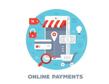 大きな携帯電話、紙幣、クレジットカードやアイコンのベクトルカラフルなイラスト。タイトル付きの青い背景にオンライン支払いの概念。Web、サ