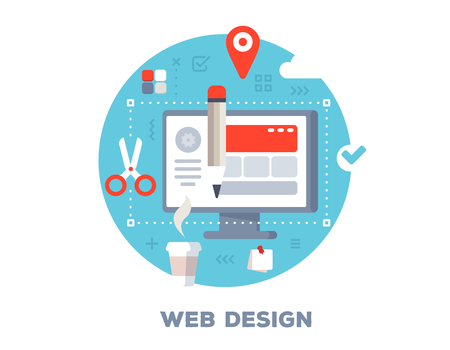 Vector color illustration of big computer monitor, cup of coffee, pencil and icons. Creative web design concept on blue background with title. Flat style design for web, site, banner, business presentation