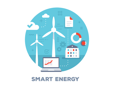 Vector color illustration of laptop, windmill, home and icons. Smart alternative energy concept on blue background with title. Flat style design for web, site, banner, business presentation Vectores