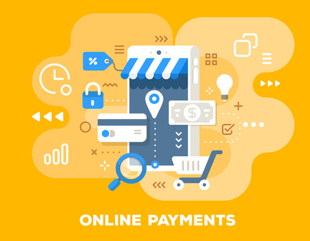 Vector colorful illustration of online store. Online payments concept with big phone, paper money, credit card, icons on blue background with title. Flat style design for web, site, banner, business p