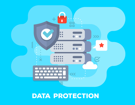 Data protection concept on blue background with title. Vector bright illustration of big data server, protective shield, keyboard and icons. Flat style design for web, site, banner, business presentation