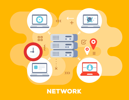 Social network concept on yellow background with title. Vector bright illustration of big data server is connected to laptops with clock icon. Flat style design for web, site, banner, business presentation