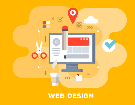 Creative web design concept on yellow background with title. Vector color illustration of big computer monitor, cup of coffee, pencil and icons. Flat style design for web, site, banner, business presentation Illustration