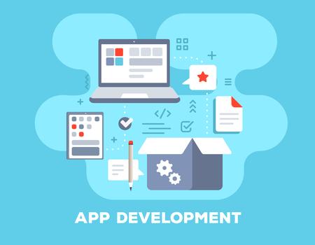 제목과 함께 파란색 배경에 응용 프로그램 개발 개념. 큰 노트북, 모바일 태블릿, 상자 및 아이콘 벡터 색 그림. 웹, 사이트, 배너, 비즈니스 프리젠 테 일러스트