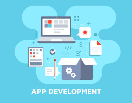 App development concept on blue background with title. Vector color illustration of big laptop, mobile tablet, box and icons. Flat style design for web, site, banner, business presentation Stok Fotoğraf - 94235071