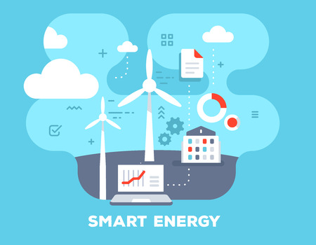 Smart alternative energy concept on blue background with title. Vector color illustration of laptop, windmill, home and icons. Flat style design for web, site, banner, business presentation Çizim