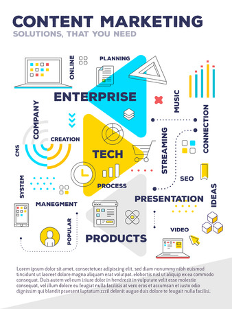 Content marketing concept. Vector creative bright illustration of graph business project with header, text on white background. Flat line art style design of business infographics for web, poster, presentation
