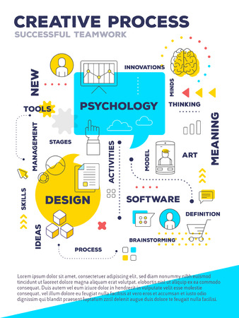 Creative Process Concept A4 Page For Web Poster Presentation Vector Bright Illustration