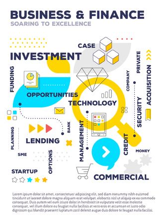 Business and finance template composition concept. Vector creative color illustration of graph business project with header, text, icons on white background. Flat line art style design of business infographics for web, poster, presentation