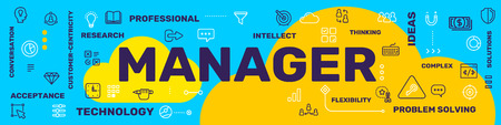 Profession manager concept. Vector creative illustration of manager word lettering typography with line icon, tag, yellow cloud on blue background. Thin line art style design for business social media web banner