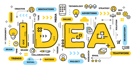 Vector creative illustration of idea yellow word lettering typography with line icons and tag cloud on white background. Creative idea concept. Thin line art style design for business idea theme website banner