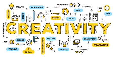 Vector creative illustration of creativity yellow word lettering typography with line icons and tag cloud on white background. Creative idea concept. Thin line art style design for business creative theme website banner Stock Illustratie